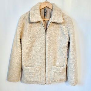 Design Lab Lord & Taylor Sherpa Teddy Bear Coat Jacket Size Small NWT